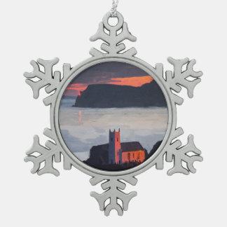 Ballintoy Church, Ireland at Sunset Pewter Snowflake Decoration
