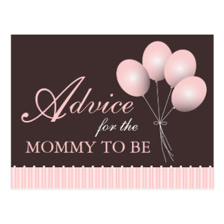 Balloon Baby Shower Advice for the Mommy to Be Postcard