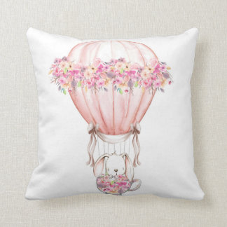 Balloon Boho Woodland Bunny Nursery Pillow