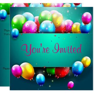 Balloon & Bows Birthday Invitation - Teal