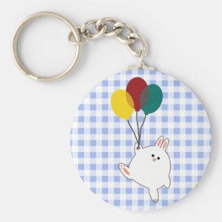 Balloon Bunny Basic Round Button Key Ring