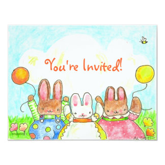 balloon bunny birthday invitation