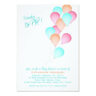Balloon Celebration Baby Shower 13 Cm X 18 Cm Invitation Card