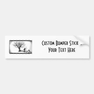 Balloon Clown & Ravens By Creepy Tree - B&W Car Bumper Sticker