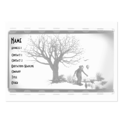 Balloon Clown & Ravens By Creepy Tree - B&W Business Card Templates