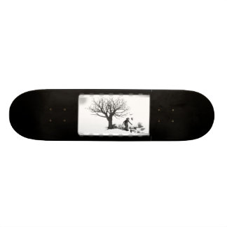 Balloon Clown & Ravens By Creepy Tree - B&W Custom Skate Board