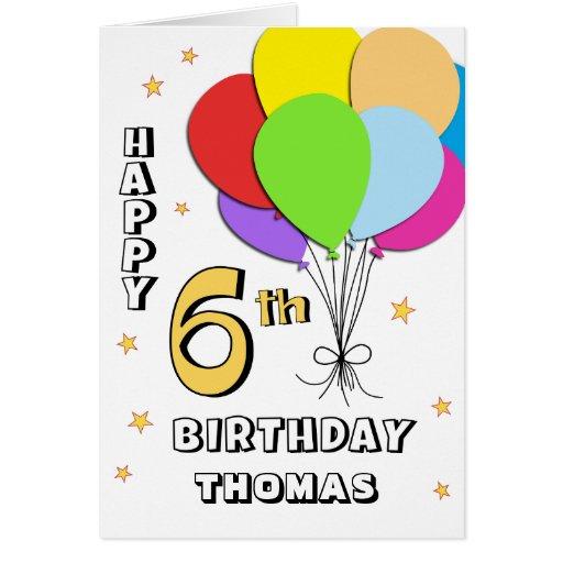Balloon Filled 6th Birthday Card