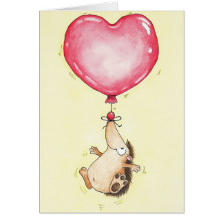BALLOON HEDGEHOG greeting card by Nicole Janes