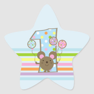 Balloon Mouse Blue 1st Birthday Star Stickers