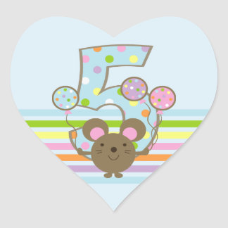 Balloon Mouse Blue 5th Birthday Heart Stickers