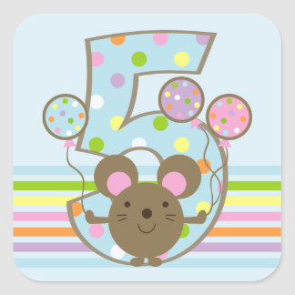 Balloon Mouse Blue 5th Birthday Square Sticker