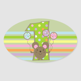 Balloon Mouse Green 1st Birthday Oval Stickers