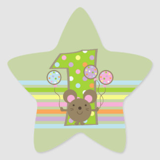 Balloon Mouse Green 1st Birthday Star Stickers