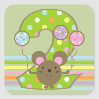 Balloon Mouse Green 2nd Birthday Square Stickers