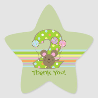 Balloon Mouse Green 2nd Birthday Star Stickers