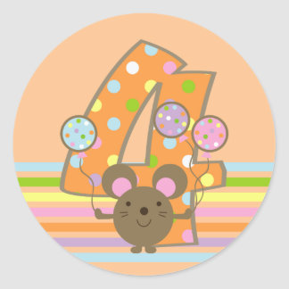 Balloon Mouse Orange 4th Birthday Round Stickers