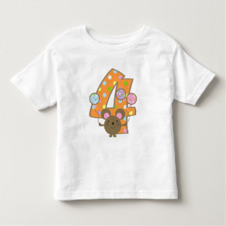 Balloon Mouse Orange 4th Birthday T-Shirt