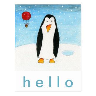 Balloon Mouse & Penguin Postcard