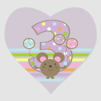 Balloon Mouse Purple 3rd Birthday Heart Stickers