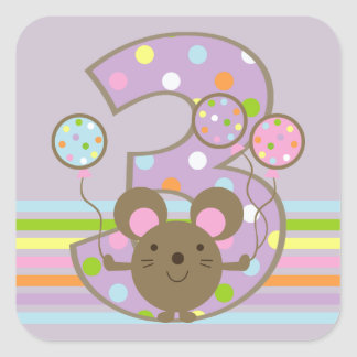Balloon Mouse Purple 3rd Birthday Square Stickers