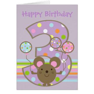 Balloon Mouse Purple Happy 3rd Birthday Card