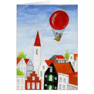 Balloon Mouse & Roofs Card