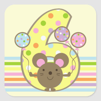 Balloon Mouse Yellow 6th Birthday Square Stickers