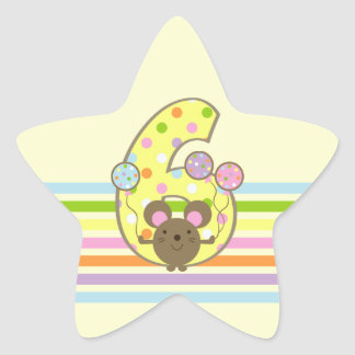 Balloon Mouse Yellow 6th Birthday Star Stickers