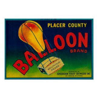 Balloon Pear Crate Label Posters