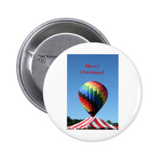 Balloon with Candy Cane Stripe Merry Christmas Button