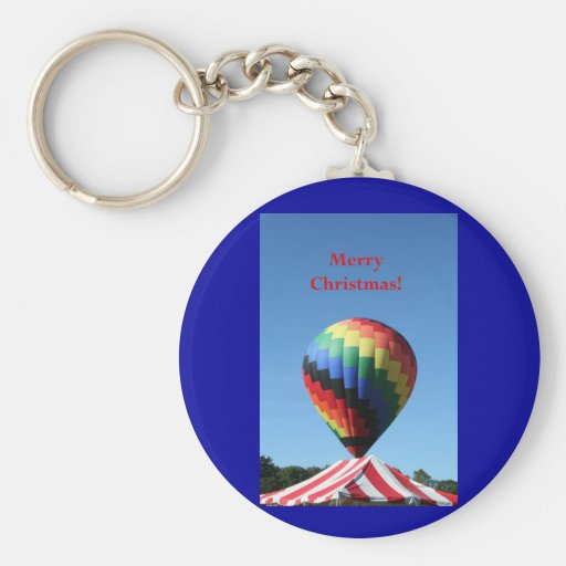 Balloon with Candy Cane Stripe, Merry Christmas! Key Chain