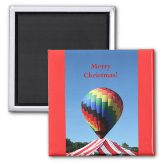 Balloon with Candy Cane Stripe Merry Christmas Refrigerator Magnets