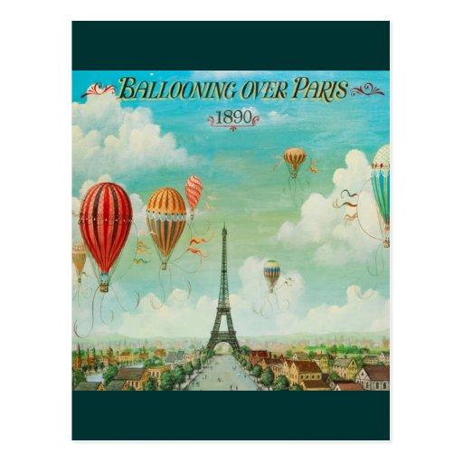 Ballooning Over Paris Postcard