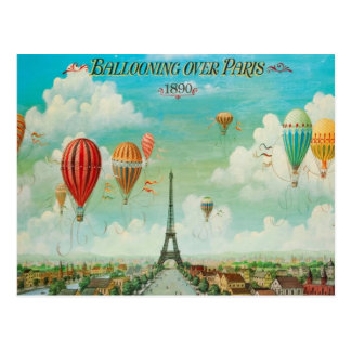Ballooning Over Paris Vintage Travel Postcard