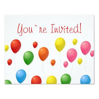 Balloons 11 Cm X 14 Cm Invitation Card