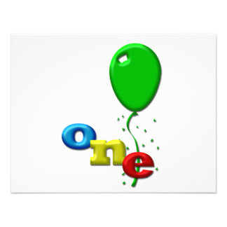 balloons 1 year old custom invites