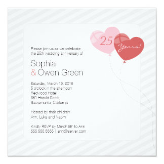 Balloons 25th Silver Wedding Anniversary Party Card