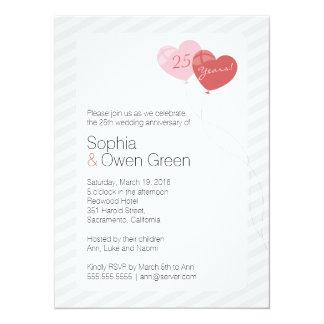 "Balloons 5.5""x7.5"" Wedding Anniversary Invitation"