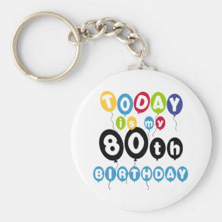 Balloons 80th Birthday Basic Round Button Key Ring