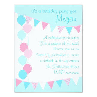 Balloons and Banners 11 Cm X 14 Cm Invitation Card