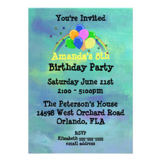Balloons and Rainbow Customized Birthday Party 13 Cm X 18 Cm Invitation Card