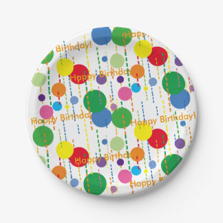 Balloons and Streamers 7-Inch Party Plate