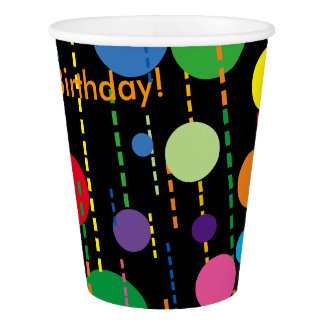 Balloons and Streamers on Black Paper Cup