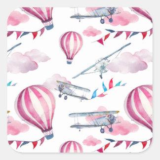 Balloons & Biplanes Square Sticker