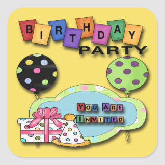 Balloons Birthday Party Invitation envelope seal Square Sticker