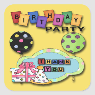 Balloons Birthday Party Thank You envelope seal Square Sticker