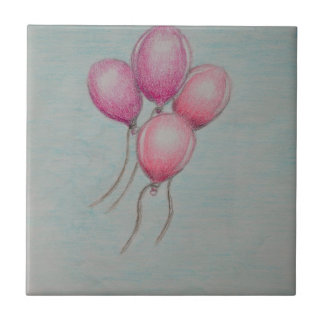 balloons birthday small square tile