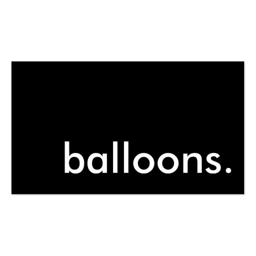 balloons. business card templates