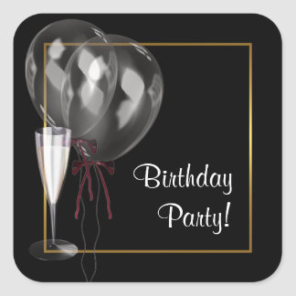 Balloons Champagne Birthday Party Envelope Seal Square Sticker