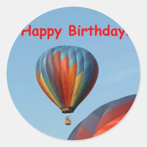 Balloons, Happy Birthday, 2 generic Round Stickers